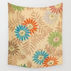 Japanese Vintage Flowers Pattern Wall Tapestry