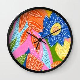 Energetic Flowers Wall Clock