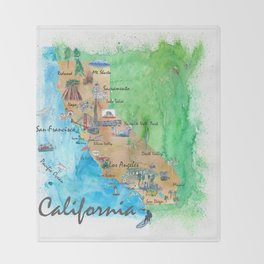 USA California Travel Poster Map With Highlights And Favorites Throw Blanket