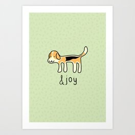 Cute Beagle Dog &joy Doodle Art Print