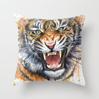 tiger Throw Pillows featuring Tiger by Olechka