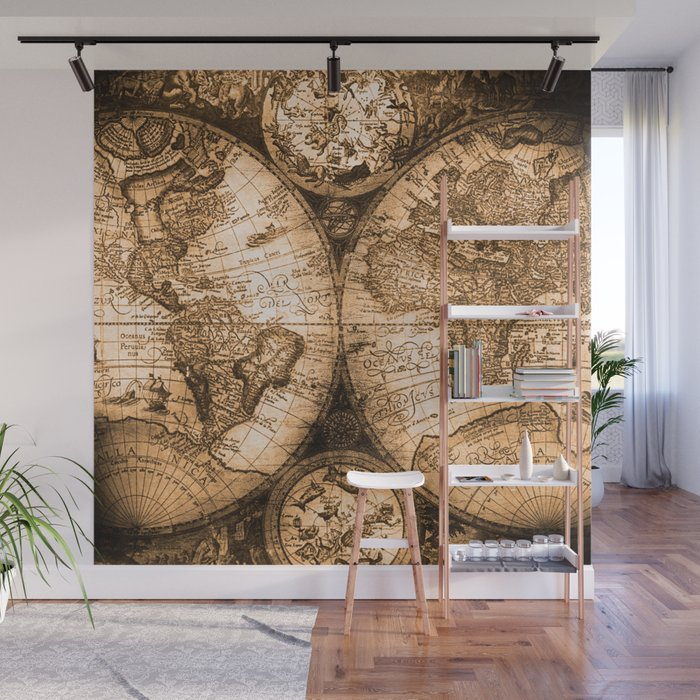 Old World Map Mural.Antique World Map Wall Mural Tyres2c