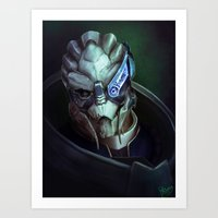 mass effect Art Prints featuring Mass Effect: Garrus Vakarian by Ruthie Hammerschlag