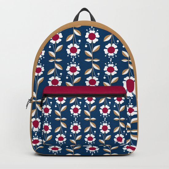 Blue floral pattern . Backpack