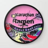 ramen Wall Clocks featuring Ramen Noodles by Danny Daurko
