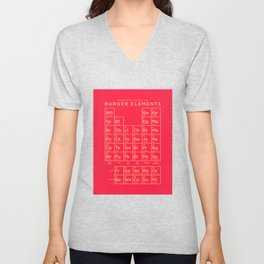 Periodic Table of Burger Elements - Red Unisex V-Neck