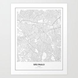São Paulo, Brazil Minimalist Map Art Print