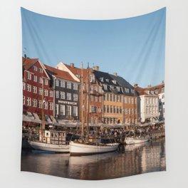 Colorful houses with fishing boats I Nyhavn, Copenhagen I Denmark, Europe I Vintage photogrpahy Wall Tapestry