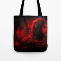bucky barnes Tote Bags featuring The Winter Soldier (Bucky Barnes) Hydra Print by thecannibalfactory