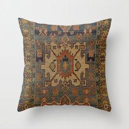 Persia Heriz 19th Century Authentic Colorful Orange Blue Green Vintage Patterns Throw Pillow
