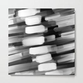 Racing City Lights - Black and White Metal Print