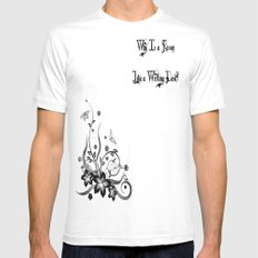 Why? MEDIUM Mens Fitted Tee White