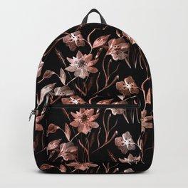 Beige, black floral pattern. Backpack