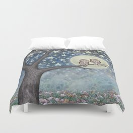 northern saw whet owls under the stars Duvet Cover