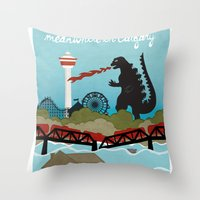 the neighbourhood Throw Pillows featuring YYCFlood by KeliGirl