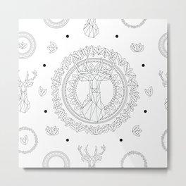 Deer mandala Metal Print