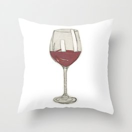 A glass of wine Throw Pillow