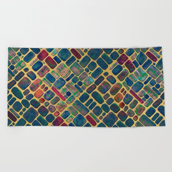 Abstract Tile Mosaic 2 Beach Towel