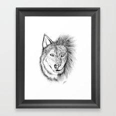 Lion Wolf Framed Art Print