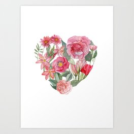 heart and flower mean love Art Print