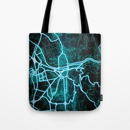 Heidelberg, Germany, Blue, White, Neon, Glow, City, Map Tote Bag