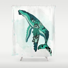 Coral Reef Humpback Whale Shower Curtain