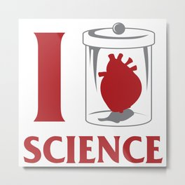 I love Science Chemistry Physics Teacher Gift Metal Print