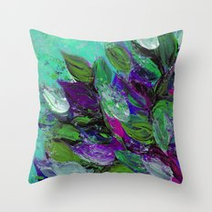 BLOOMING BEAUTIFUL 1 - Floral Painting Mint Green Seafoam Purple White Leaves Petals Summer Flowers Throw Pillow