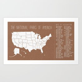 The Hand-Painted National Parks of America Art Print