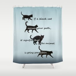 Black cat crossing, v.2 Shower Curtain