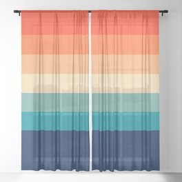 7 Colorful Retro Summer Stripes Bamola Sheer Curtain
