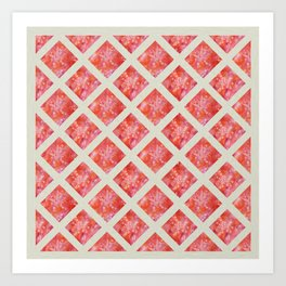 Orange Maidenhair and Flowers Sunprint Trellis Art Print