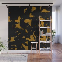 Looking For Gold - Abstract gold and black painting Wall Mural