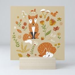 Foxes with Fall Foliage Mini Art Print