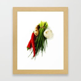 A bunch of fresh chives and vegetables over white Framed Art Print