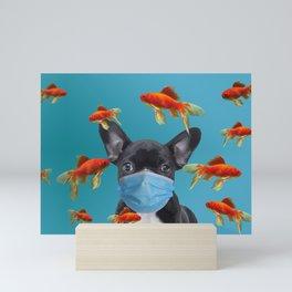French Bulldog with Mask - Goldfishes #frenchie #mask Mini Art Print