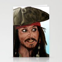 jack sparrow Stationery Cards featuring Jack Sparrow by San Fernandez