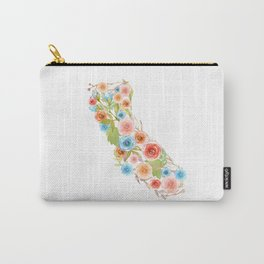 California Watercolor Flowers Carry-All Pouch