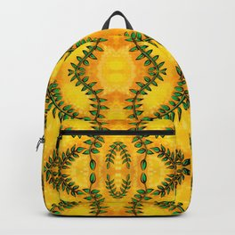 Nature Inspired Greenery - Leaves on Bright Yellow Backpack