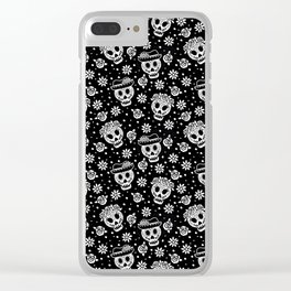 Black and White Day of the Dead Sugar Skulls Clear iPhone Case