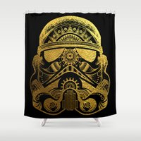 gold foil Shower Curtains featuring Mandala StormTrooper - Gold Foil by Spectronium - Art by Pat McWain