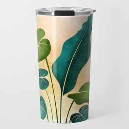 Opening Act / tropical greenery with metallic accent Travel Mug