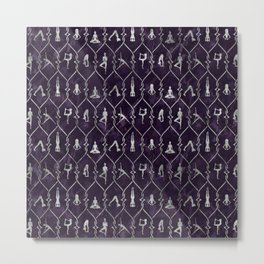 Pearl Yoga Asanas pattern on amethyst Metal Print