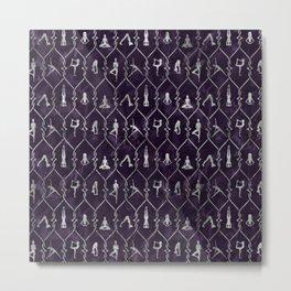 Pearl Yoga Asanas pattern on amethyst Metal Print