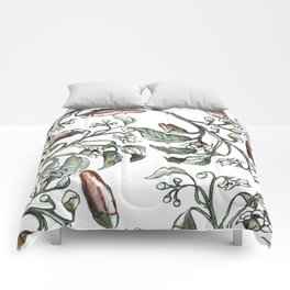 Hot Peppers Botanical Drawing Comforters