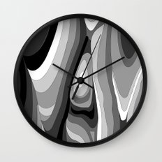 Monochromatic Psychedelic Gray Swirls Pattern Wall Clock