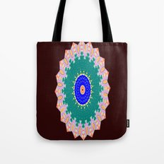 Lovely Healing Mandala  in Brilliant Colors: Brown, Pink, Sunset Orange, Teal, Cream, and Royal Blue Tote Bag
