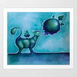 Tiny Cat Smelling a Tiny Planet Art Print