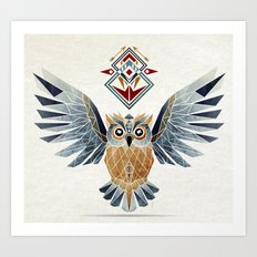 owl winter Art Print