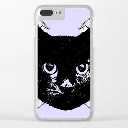 Purple Scrunch Quad Cat Clear iPhone Case